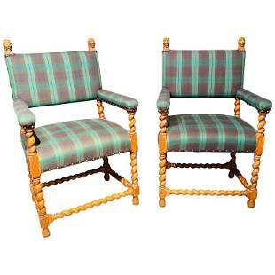 Pair Gothic Lion Head and Spiral Posts Armchairs