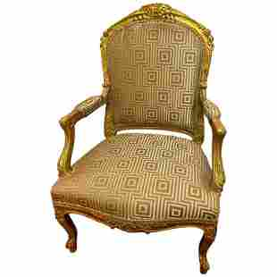 Louis XV Style Gilt Wood Arm Bergere Chair