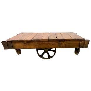 19th Century Industrial Wheel Trolley Coffee Table