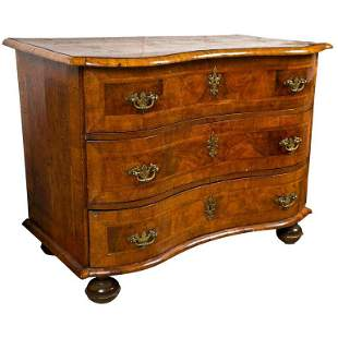 18th Century Fruit Wood Marquetry Inlaid Commode Chest