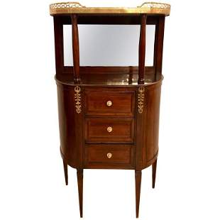 19th C. Marble-Top Mahogany Demilune Chest