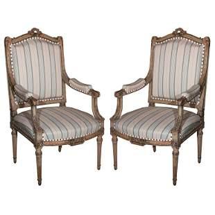 Pair Louis XVI Style Jansen Fauteuils Arm Chairs