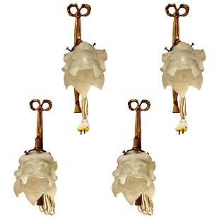 Four Louis XVI Style Bronze Sconces Ribbon Form
