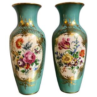 Pair of French Floral Painted Porcelain Vases