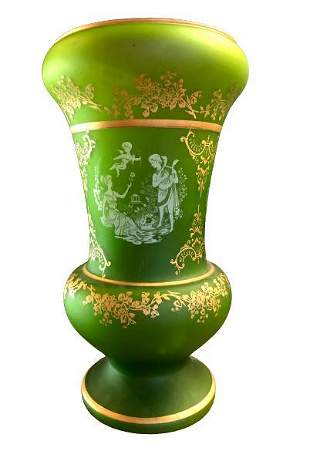 Green Etched Glass Vase