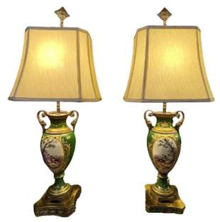 Pair of Sevres Style Table Lamp Signed