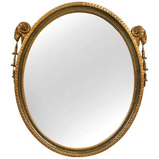 French Neoclassical Style Oval Mirror. Rams Head