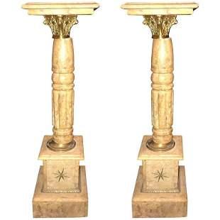 Pair of Antique Marble Pedestals or Columns