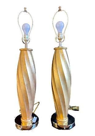Pair MCM Gold Lamps & Shades