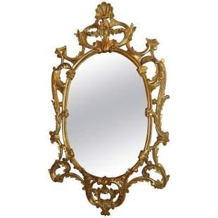 Italian Oval Gilt Wood Framed Wall Mirror