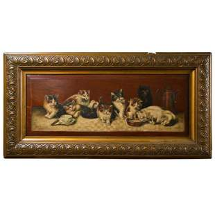 19th Century Beautiful Oil on Board Painting of Kittens