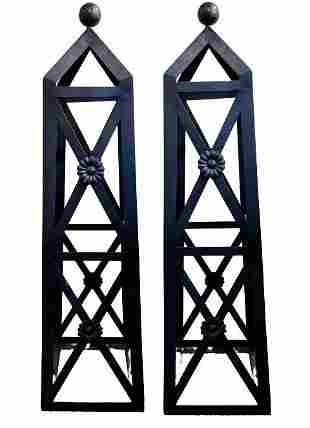 Pair of Iron Archetectual Towers Sculptures