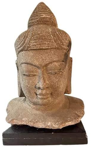 Carved Stone Buddha on Base