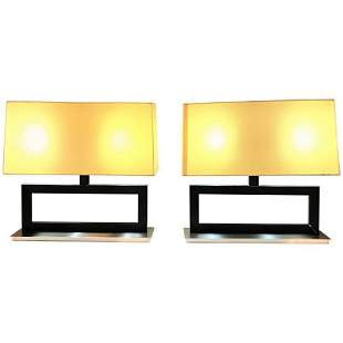 Pair of Table Lamps with Custom Shades