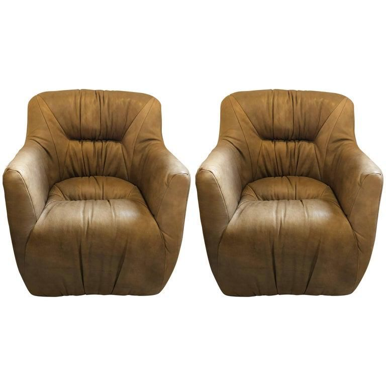 Pair Hollywood Regency Style Leather Arm Chairs