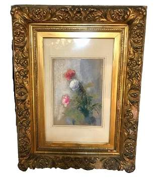 Signed Illegibly - 19th C. Watercolor of Flowers