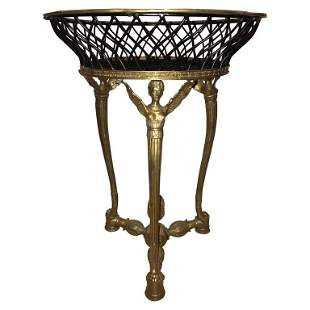 19th-20th Early Empire Bronze Basket Jardinaire
