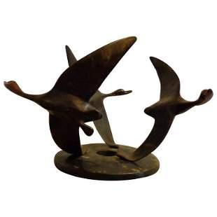 Art Deco Bronze Sculpture of Flying Geese