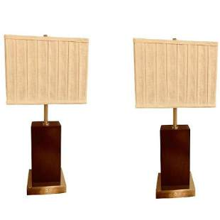 Pair of Mid-Century Chrome and Wood Base Lamps