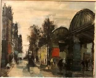 Signed SF - Oil on Canvas - Paris Scene