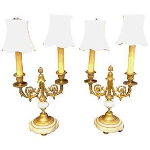 Pair of Louis XVI Style Dore Bronze Candelabras