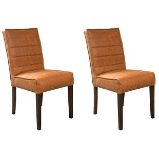 Pair of Hollywood Regency Style Leather Chairs