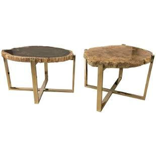Pair of Marble Chrome Based End Tables