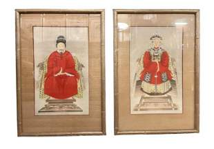 Pair of Chinese Ancestral Painted Portraits
