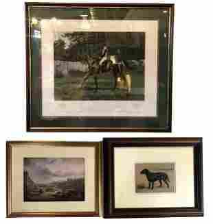 3 Framed Prints - Derby, Landscape, & Portrait Dog