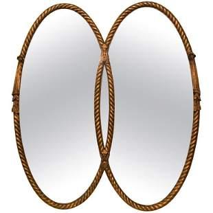 Gilt Braided Rope Edge Double Mirror