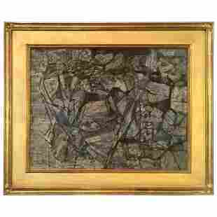 "Wesley A Lea Oil Painting "" Rock & Fumgi"""