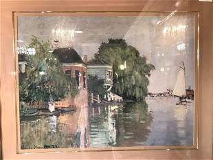 Signed Watercolor Painting Depicting Boat Scene