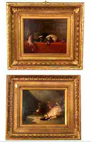 2 Framed Oil on Canvas Depicting Dogs - Late t19th C.