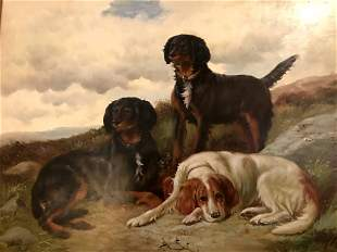 3 Dogs Oil on Canvas