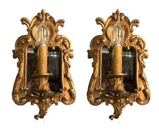 Pair of Mirror Gilded Sconces