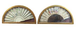 2 Painted and Decorated Fans in Shadowbox Frames