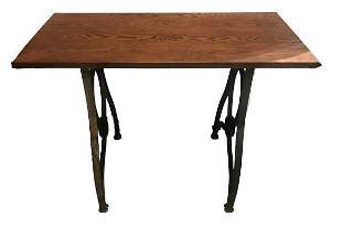 Antique Cast Iron Industrial Base Table