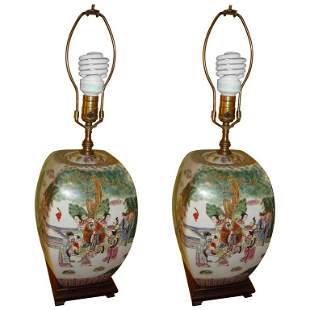 Pair Chinese Export Porcelain Painted Table Lamp