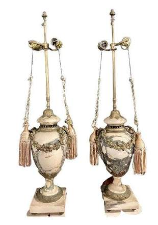 Pair of Bronze And Alabaster Table Lamps