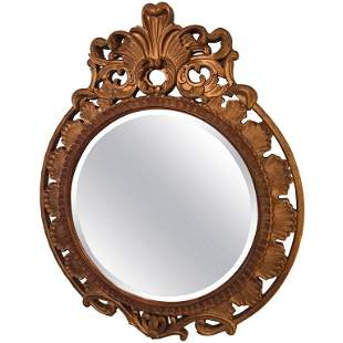 Italian Palatial Carved Circular Wall Mirror