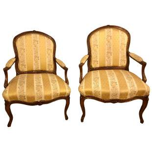 Pair Walnut Arm-Chairs Bergere Chairs