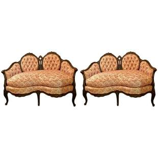 Pair of Louis XV Style Carved Settees or Loveseats