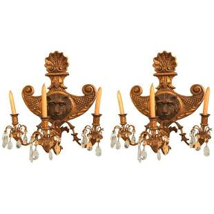 19th C. Pair Carved Lion Head Shell Form Sconces