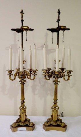 Pair 19th Century Bronze Candleabrum