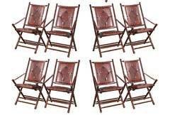 Set Of Bamboo Folding Chairs