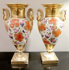 Pair 19th Century French Porcelain Vases