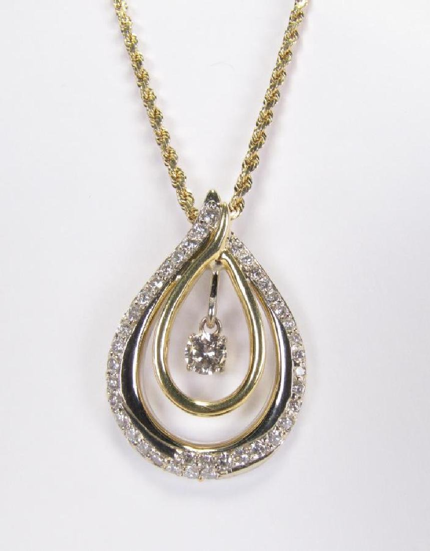 14K Pear Shaped 1.4ct Diamond Pendant, Chain