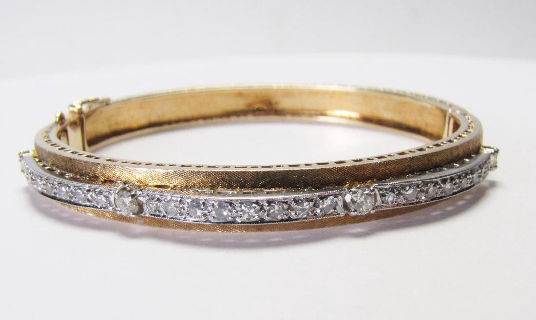 Antique 18K Gold and Platinum Diamond Bangle