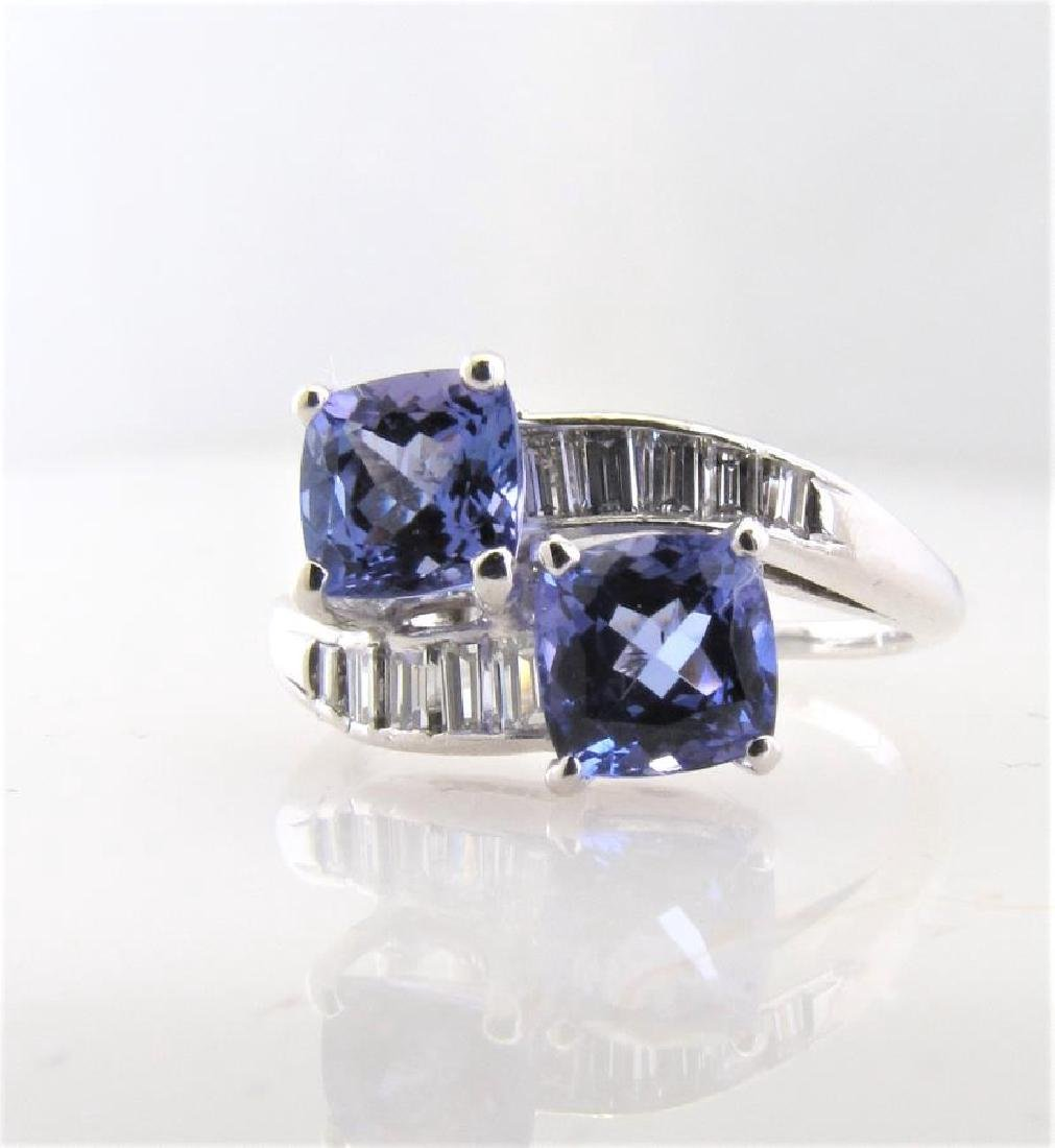 Lady's Platinum Tanzanite and Diamond Bypass Ring