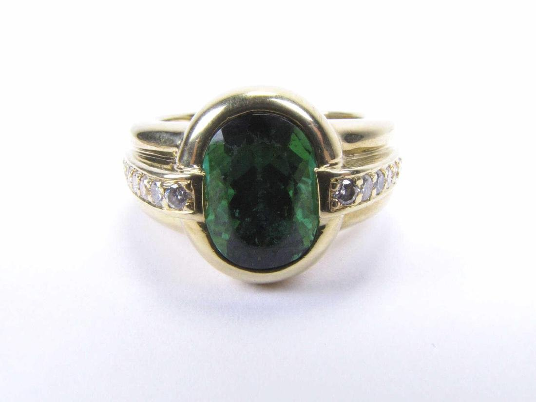 18K Yellow Gold, Green Tourmaline, Diamond Ring
